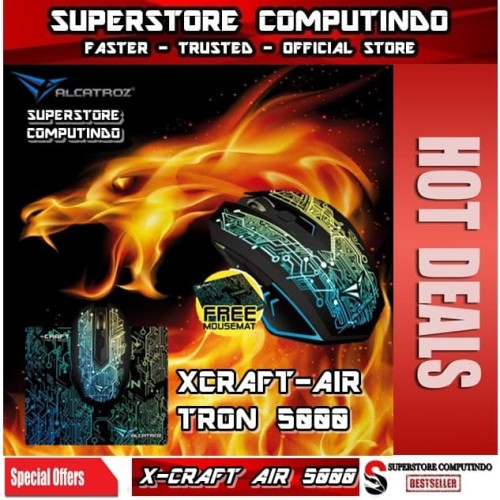 Foto Produk Alcatroz X-Craft Air Tron 5000- WIRELESS Gaming Mouse -Macro-Best Buy dari SuperStore Computindo