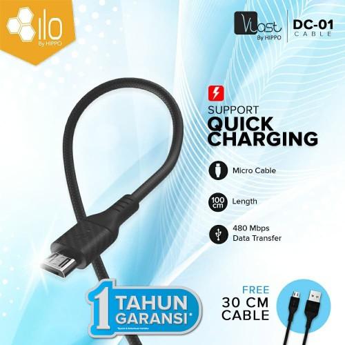 Foto Produk Hippo Vlast DC-01 Fast Charging 3.0 Micro USB 100cm+30cm cable dari iLo Official Store