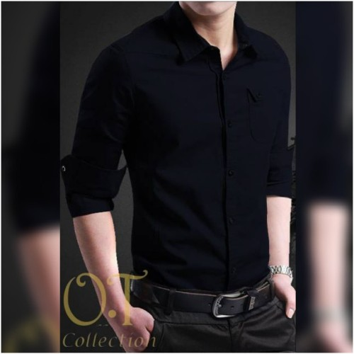 Foto Produk [Kemeja Miller Black OT] kemeja pria lengan panjang katun stretch - Hitam, XS dari Galeris'Store_21