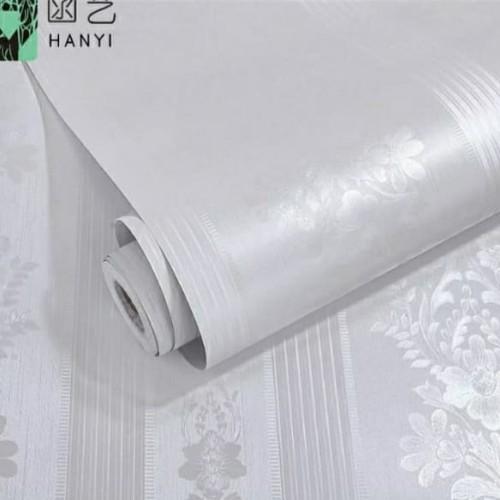 Foto Produk Polos putih tekstur salur bunga 45 cm x 10 mtr || Wallpaper dinding dari dedengkot wallpaper