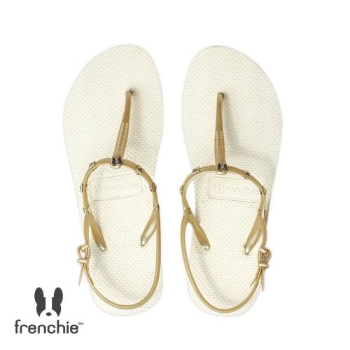 Foto Produk Sandal Wanita Frenchie Slipper Strappy Rockstud Beige /Gold SFR01 - 37 dari FRENCHIEWAY
