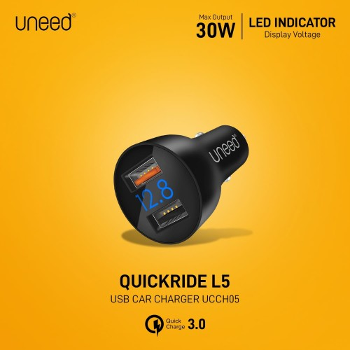 Foto Produk UNEED QuickRide L5 Car Charger with Qualcomm Quick Charge 3.0 -UCCH05 dari Uneed Indonesia