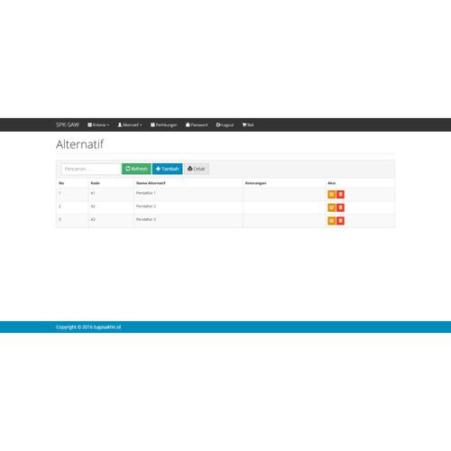 Foto Produk Source Code SPK Metode SAW PHP dari Rumah Source Code