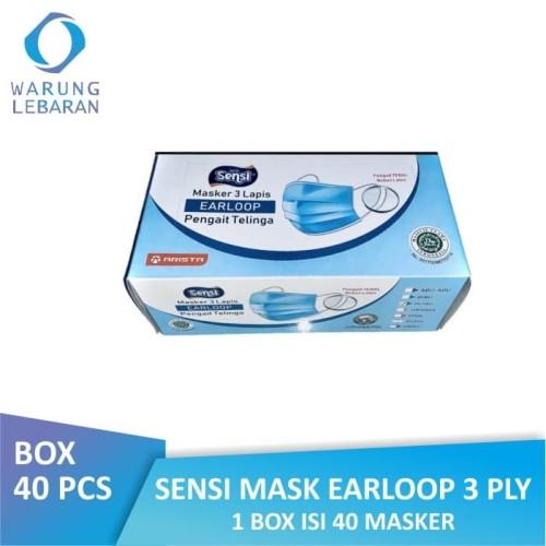 Foto Produk [BOX] Sensi Mask Earloop 3 Ply | Masker Sensi Debu Wajah (Isi 40 Pcs) dari Warung Lebaran