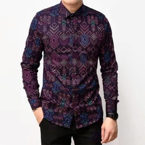 Foto Produk Baju Kemeja Batik Songket Pria Lengan Panjang Ungu Slimfit Casual - Ungu, XL dari TBS Shop