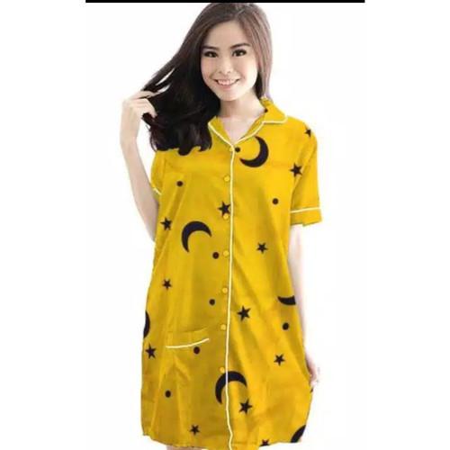 Foto Produk BAJU TIDUR DASTER (DAS) MOTIF STARMOON - Kuning dari cantik piyama
