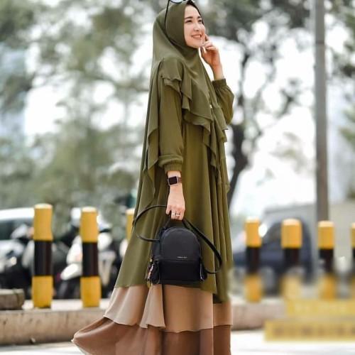 Foto Produk Baju Gamis Wanita Syari Terbaru Set Hijab Khimar Pesta Jumbo Busui dari RERE_SHOP17