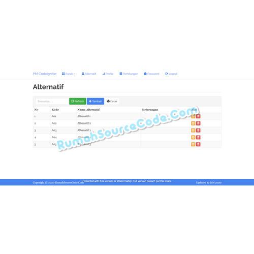 Foto Produk Source Code SPK Metode Profile Matching CodeIgniter dari Rumah Source Code