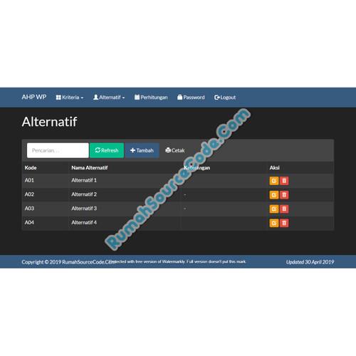 Foto Produk Source Code SPK Metode AHP Weighted Product PHP dari Rumah Source Code