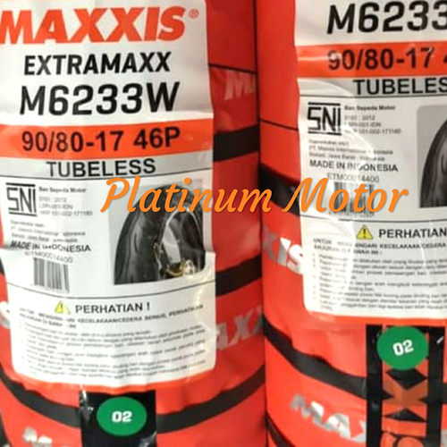 Foto Produk Ban Tubeless Maxxis Extramaxx 90/80-17 dari Platinum Motor TGR