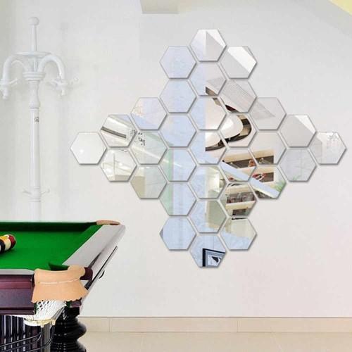 Foto Produk Stiker Wallpaper Dekorasi Design vinyl Cermin Mirror hexagonal isi 7 dari lbagstore