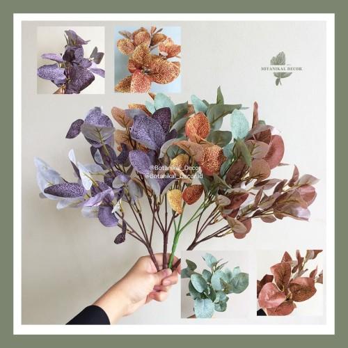 Foto Produk Artificial Flower 5 Cabang Eucalyptus Bunga Daun Palsu Dekor Meja Pot - Green dari Botanikal_Decor.id