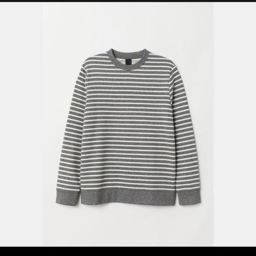 Foto Produk sweater h&m striped grey sweatshirt men pullover hnm original dari ravindra gear