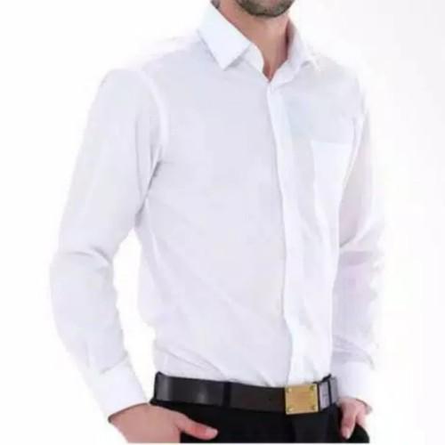 Foto Produk Kemeja Pria Lengan Panjang / Kemeja Formal Putih - Putih, M dari UN_Jaya