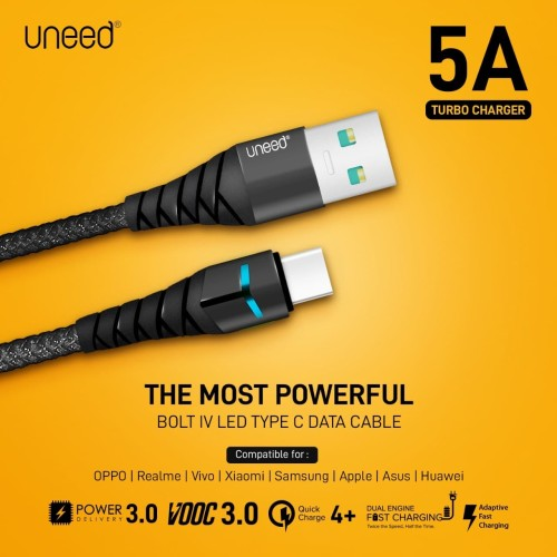 Foto Produk UNEED Bolt IV LED Kabel Data Type C QC 4+ / 3.0 / VOOC Max 5A - UCB41C dari Uneed Indonesia