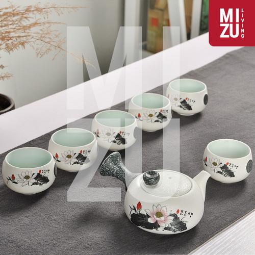 Foto Produk LOTUS Classic Chinese Tea Pot SET 6 Cups Textured Ceramic Gift Box - LOTUS FLOWER dari MIZU Living