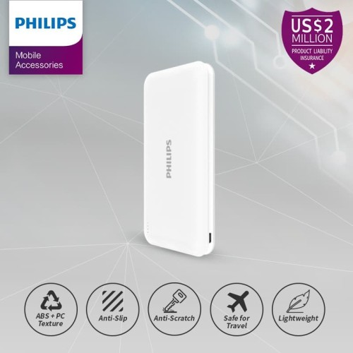 Foto Produk PHILIPS DLP 6812N PowerBank 10,000mAh Li-Polymer 2.1A, Type C - White dari Philips Mobile Acc