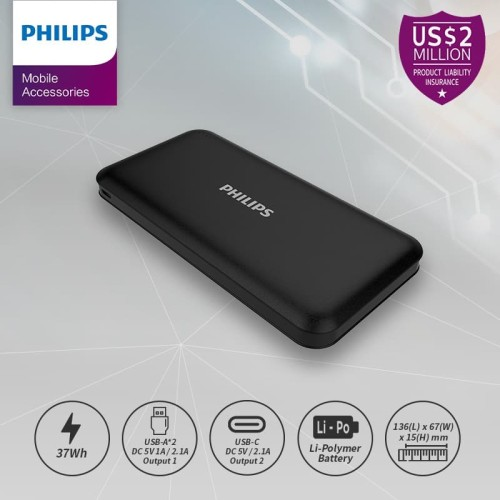 Foto Produk PHILIPS DLP 6812N PowerBank 10,000mAh Li-Polymer 2.1A, Type C - Black dari Philips Mobile Acc