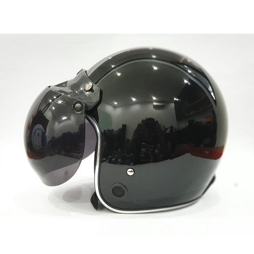 Foto Produk Helm Retro List Chrome HKM Black Glossy List Silver - L dari GudangHelm