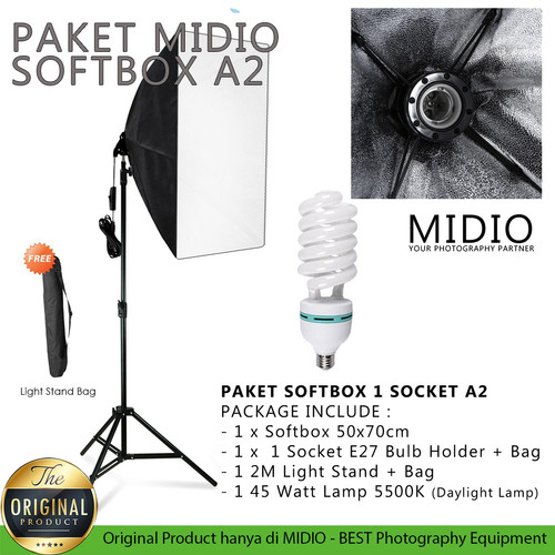 Foto Produk Paket Softbox Midio A2 LightStand 2M + 1 Softbox + 1 Lampu 45watt - Softbox 50x70 dari Midio