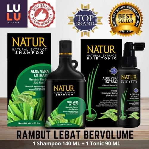 Foto Produk Paket 2 in 1 Natur Shampoo Aloevera 140ML & Natur Tonic Aloevera 90ML dari Lu'lu' Shop