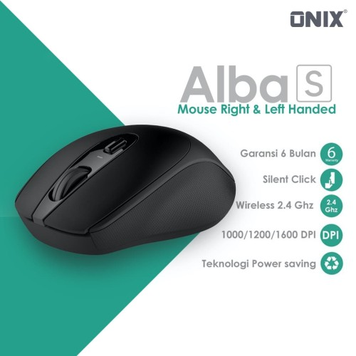 Foto Produk Onix Alba S Left Right Handed Wireless Mouse & 1600 dpi Silent Click dari Onix Gadget Official