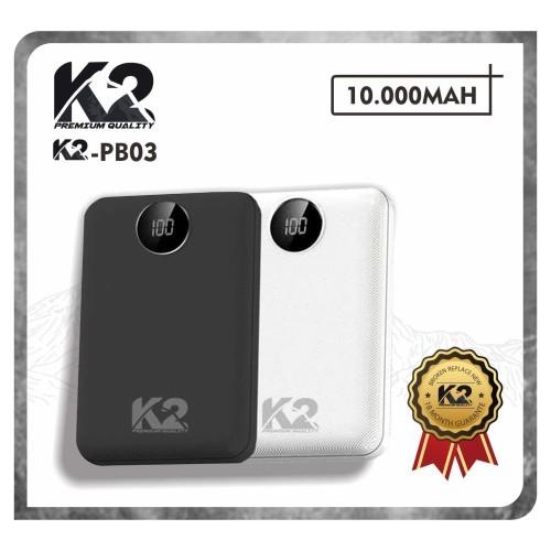 Foto Produk Powerbank K2-PB03 LED DIGITAL 10000MAH K2 PREMIUM QUALITY REAL 2A - Hitam dari K2 Official Store