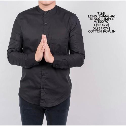 Foto Produk Kemeja Polos Cowok Lengan Panjang Slimfit | Baju Pria Grandad Black - M dari ALJOSA