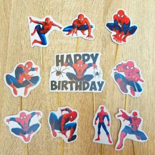 Foto Produk topper toper tusukan hiasan kue karakter spiderman dari rean shoop
