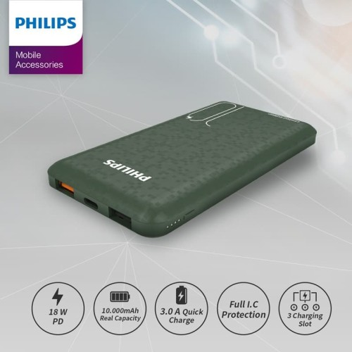 Foto Produk PHILIPS Mobile Power Bank 10,000 MAH DLP7715C PD 18W / QC 3.0 - Green dari Philips Mobile Acc
