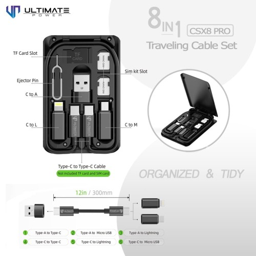 Foto Produk Ultimate Power 8in1 Traveling Cable Set CSX8 Pro dari Ultimate Power Official
