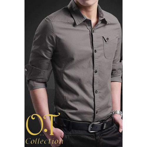 Foto Produk [Miller dark grey OT] pakaian pria kemeja slim fit warna abu tua - Abu Tua, XS dari FASHIONISTA's GROSIR