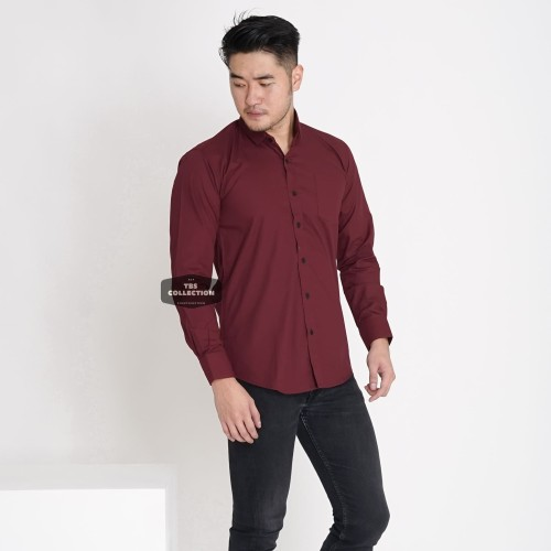 Foto Produk Kemeja Lengan Panjang Pria Merah Maroon Polos Cowok Casual Slimfit - Maroon, L dari TBS Shop