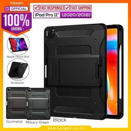 Foto Produk Case iPad Pro 11 2020 SPIGEN Tough Armor Pro with Stand & Pencil - Black dari Spigen Official