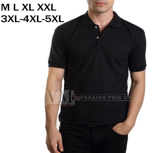 Foto Produk VM Kaos Polo Shirt Jumbo Pendek Hijau Toska - VM-031 - Hitam, M dari VM VanMarvell