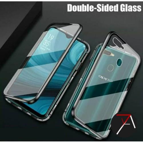 Foto Produk Oppo A12 Double Side Glass Magnetic Case Metal Cover Depan Belakang - Hitam dari 17 Agustus