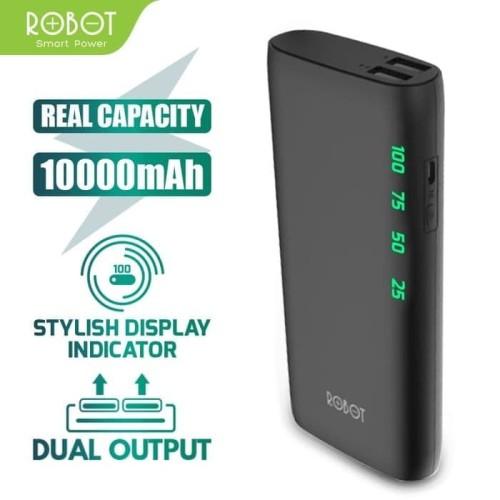 Foto Produk Robot PowerBank RT-130 10000mAh 2 USB Ports Black dari fortunate_shop