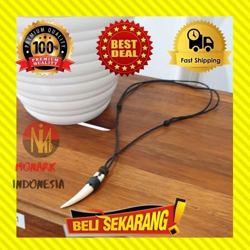Foto Produk KALUNG PRIA TARING MACAN HARIMAU TULANG KAYU TALI PREMIUM ORIGINAL K45 dari MonarkIndonesia