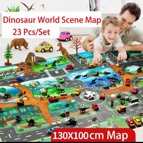 Foto Produk Mainan anak peta dunia Dinosaurus+mobil +Dino toys lengkap 1set dari AUTO KID II