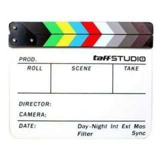 Foto Produk Profesional Clapper Board Colorfull Acrylic White Cutting Film Cut dari zona camera