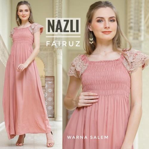 Foto Produk daster arab/india/dubai/turki fairuz nazli polos dress busui renda dari murmershops & fashion