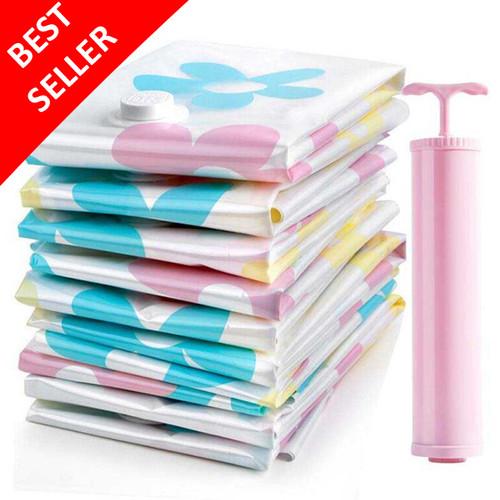 Foto Produk Paket 10 Pcs Plastik Vacum Baju Vacuum Vakum Bag Simpan Pakaian+Pompa dari BStore id