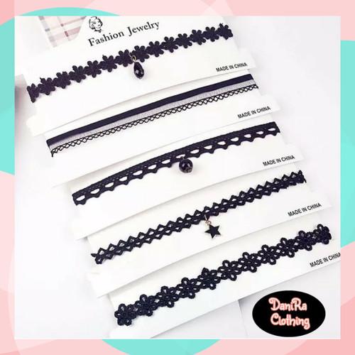 Foto Produk Kalung Choker Renda Motif Set 5 Pcs dari Danira Clothing