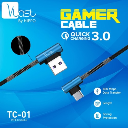 Foto Produk Hippo Vlast Kabel Type C USB 100cm TC-01 - Vlast TC-01 Type C 100cm - Biru dari iLo Official Store