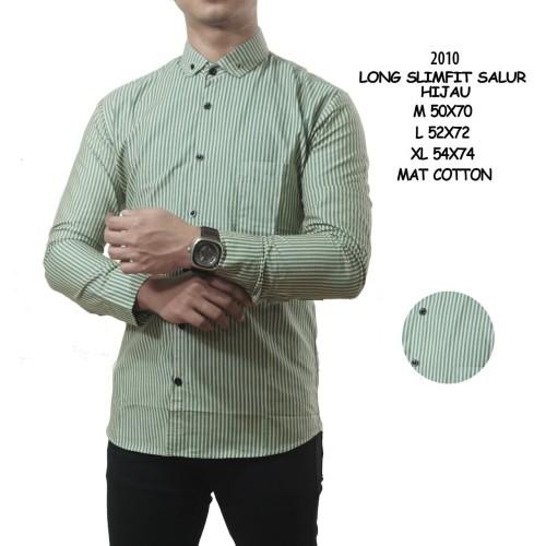 Foto Produk Kemeja pria lengan panjang motif garis salur slimfit dari Goodfella
