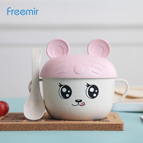 Foto Produk Freemir Wheat Straw Mangkuk Gambar Kartun Sendok / Bowl + Spoon - Merah Muda dari freemir Official Store