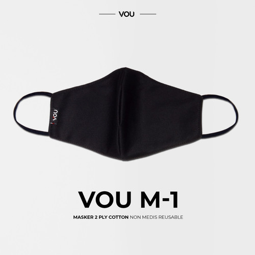 Foto Produk VOU masker kain 2 PLY non medis reusable – VM101 - Hitam dari Uneed Indonesia