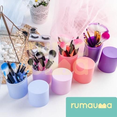 RUMAUMA Brush Makeup ISI 12 PCS Kuas Set Lembut Dengan Tempat Holder - Biru Muda 6