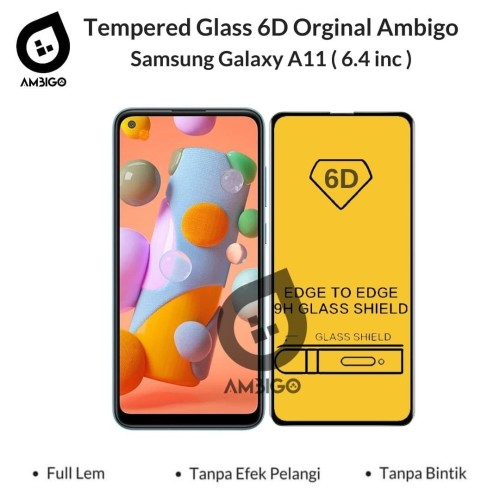 Foto Produk Tempered Glass 6D 9D Samsung A11 / M11 Full Cover Ambigo - Hitam dari Jagonya Case