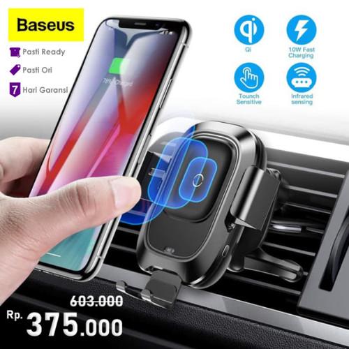 Foto Produk Charger Wireless Mobil Car Mount Baseus Smart Bracket Phone Holder - Hitam dari Gadget Factory